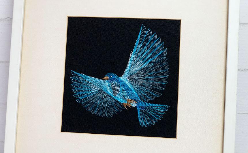 鳥刺繍 刺繍額